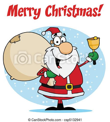 Santa Ringing A Bell - csp5132941