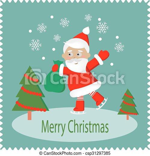 Feliz Navidad tarjeta de felicitación con Santa Feliz - csp31297385