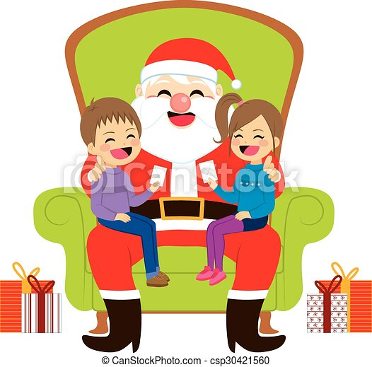 santa sitting with kids two cute siblings kids sitting on clip rh canstockphoto co uk
