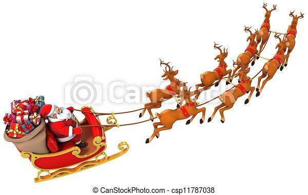santa sledge deers - csp11787038