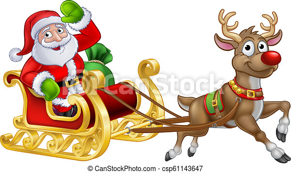 santa sleigh christmas cartoon santa claus christmas cartoon character riding in his sleigh pulled by a reindeer https www canstockphoto com santa sleigh christmas cartoon 61143647 html