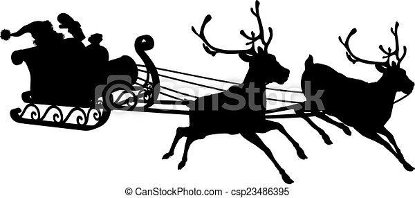 Santa Sleigh Silhouette Of Waving Claus In His And