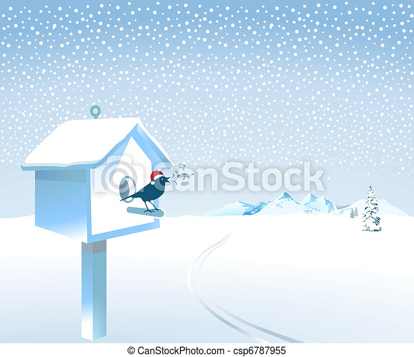santa songbird in the snow - csp6787955