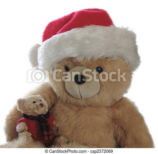 46bd90afa1ba2 Santa teddy with little bear on lap. Large teddy bear wearing a ...