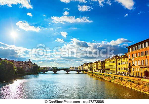 Santa Trinita Bridge on Arno river, sunset landscape. Florence, Italy - csp47273808
