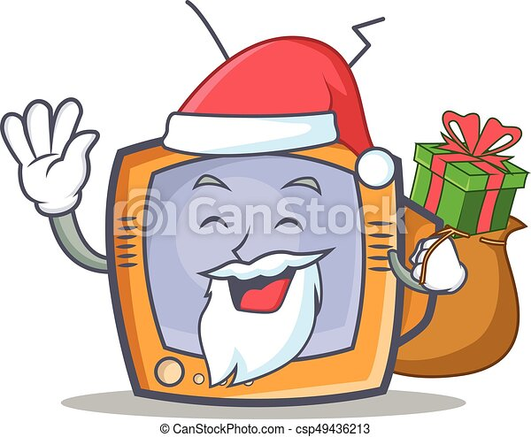 Santa TV character cartoon object with gift - csp49436213
