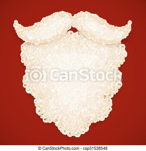 Santa white curly beard on dark red background - csp31538548