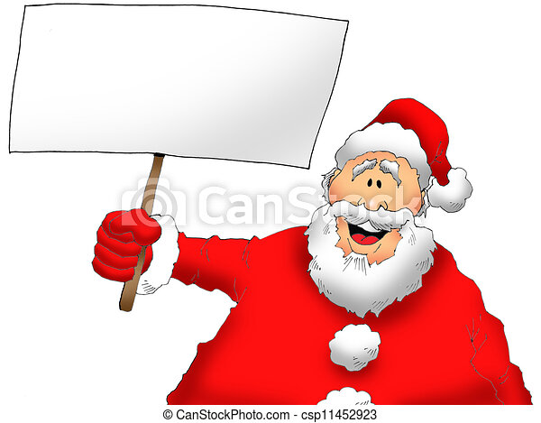 Santa With a Sign - csp11452923