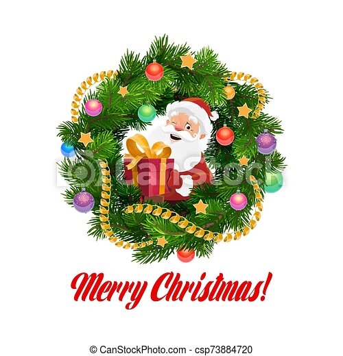 Santa with Christmas gifts in frame of Xmas wreath - csp73884720