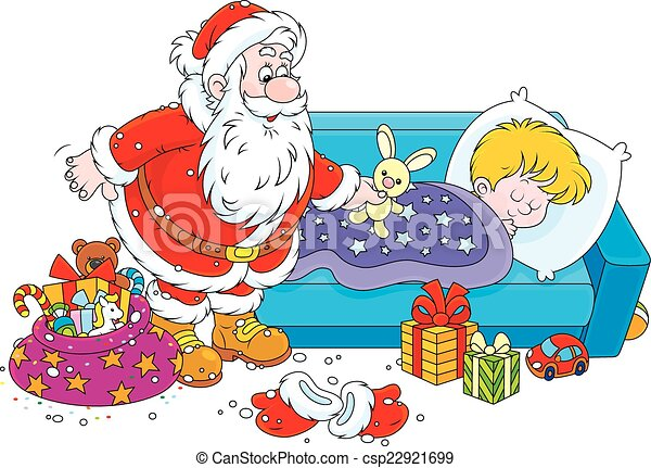 Santa with gifts for a child. The night before christmas ...