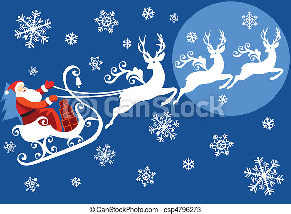 santa with his sleigh csp4796273 - Santa With Reindeer