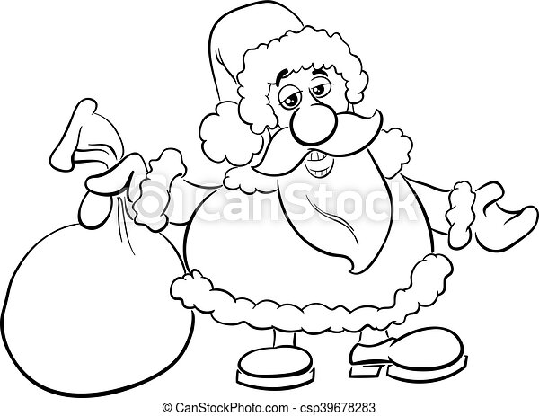 santa with sack coloring book csp39678283