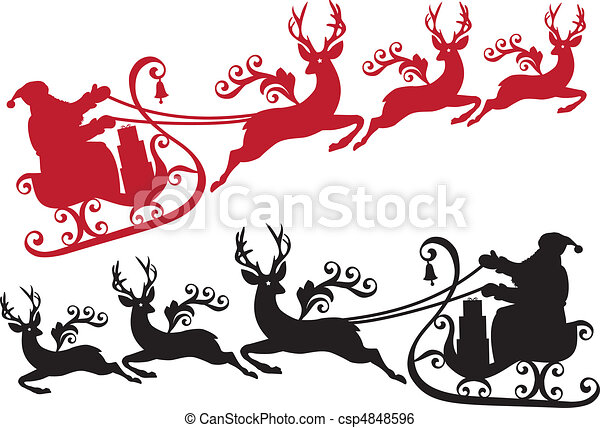 santa with sleigh and reindeer - csp4848596