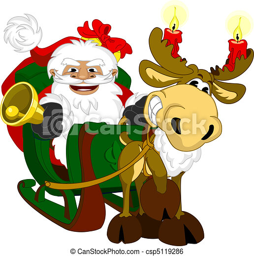 Santa with sleigh - csp5119286