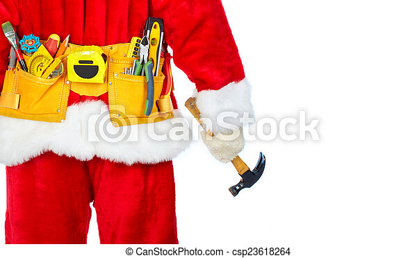 Santa Worker with a tool belt. - csp23618264