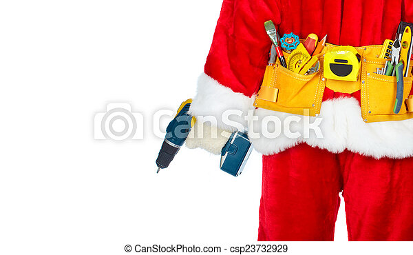 Santa Worker with a tool belt. - csp23732929