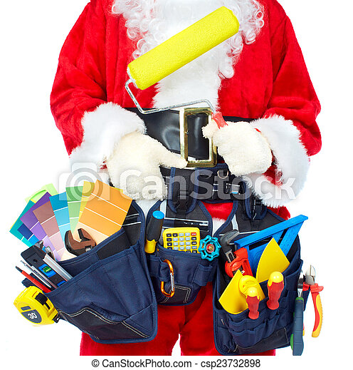 Santa Worker with a tool belt. - csp23732898