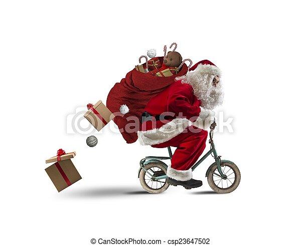 santaclaus, fiets - csp23647502