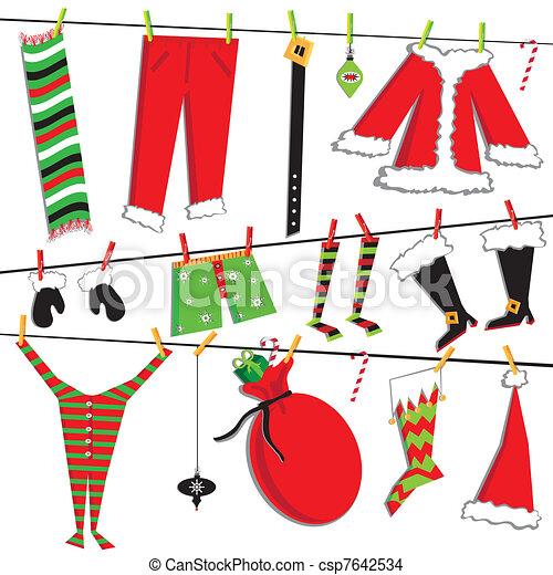 Santa's Christmas clothesline - csp7642534