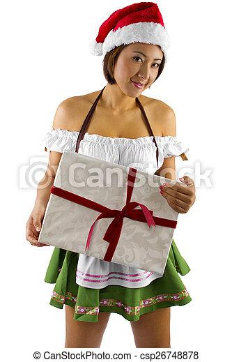 0e37418287a Santa's elf helper with a gift. Sexy asian female dressed as santa's ...