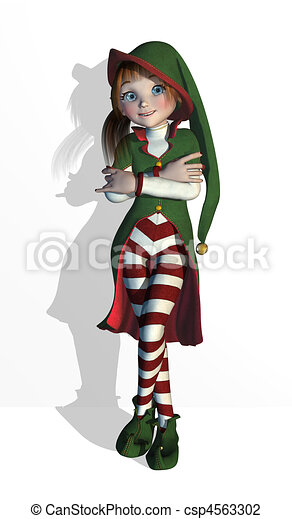 Santa's Elf Leaning Back Relaxed - csp4563302