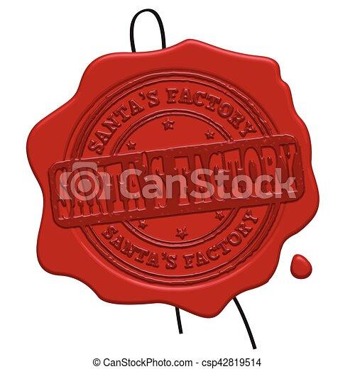 Santa's Factory red wax seal - csp42819514