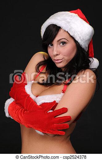 helper Sexy brunette santa