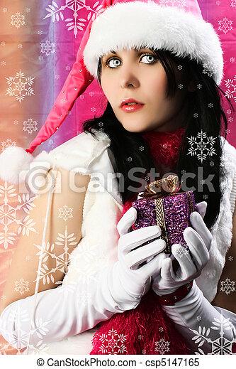 Santa's Helper with Snowflakes - csp5147165