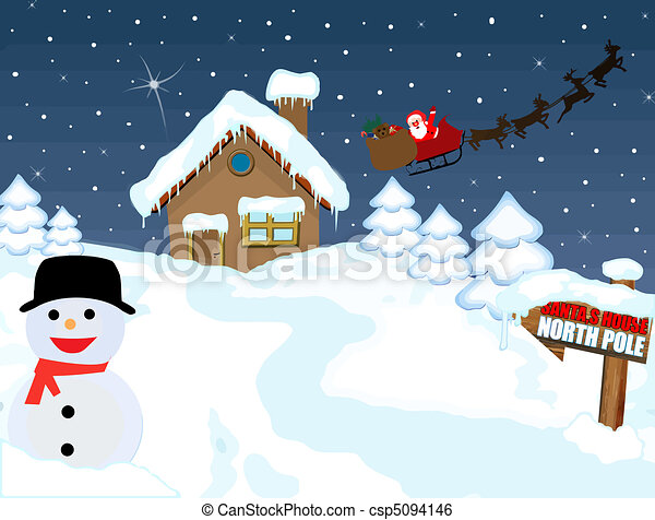 santa s house at north pole with snowman and his sleigh vector rh canstockphoto com north pole clip art stamp north pole signs clip art