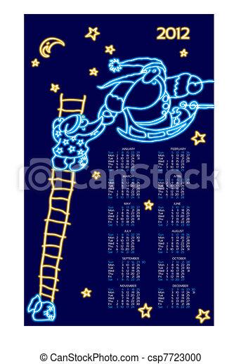 Santas line neon, New Year's - csp7723000