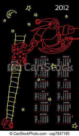 Santas line, New Year's template - csp7847185
