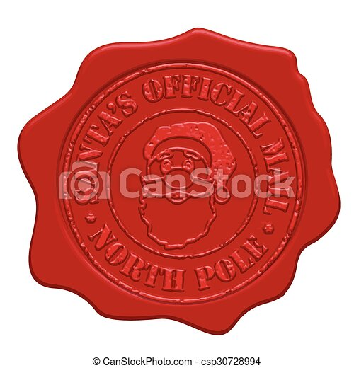 Santa's official mail red wax seal - csp30728994