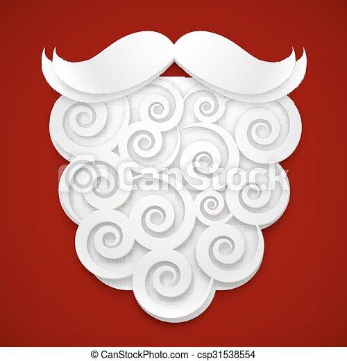 El papel blanco Santa tiene barba de fondo rojo - csp31538554