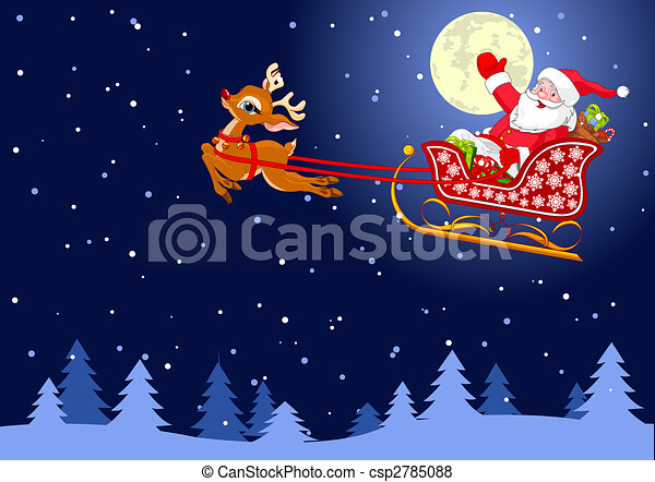 Santa S Sled Vector Background With Santa Claus Flying His Sleigh