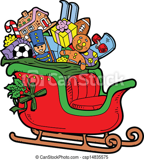 santa s sleigh filled with christmas toys and presents vectors rh canstockphoto com santa in sleigh with reindeer clipart clipart of santa and his sleigh