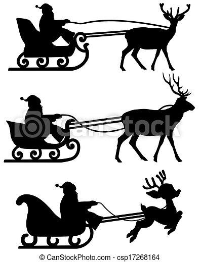 Santas Sleigh With Reindeer Shadow