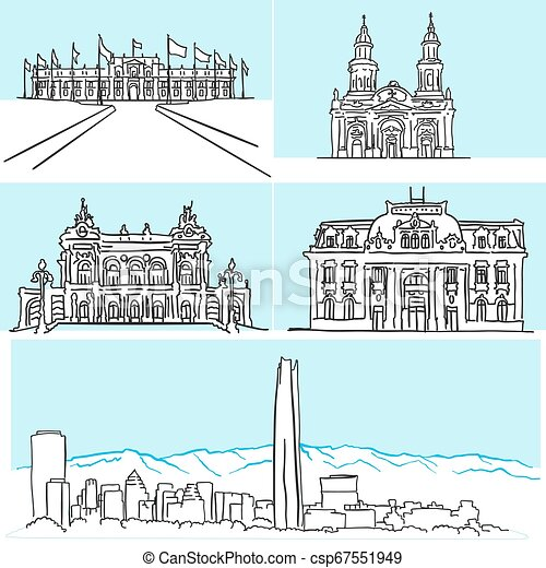 Santiago Chile famous architecture drawings by hand - csp67551949
