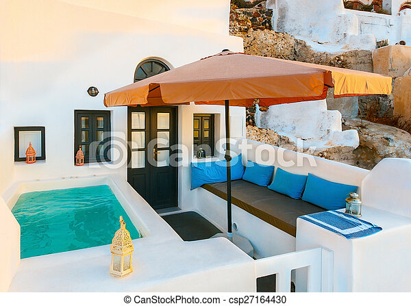 Santori. patio with swimming pool - csp27164430