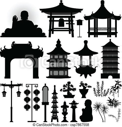 Reliquia del templo chino asiático - csp7867558