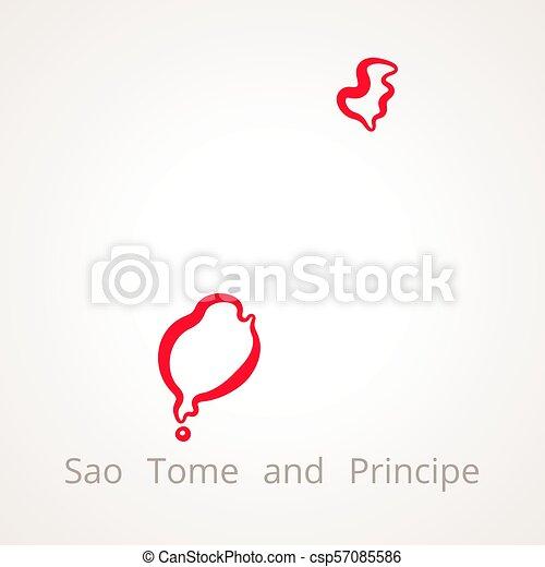 Sao Tome and Principe - Outline Map - csp57085586