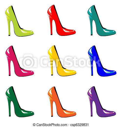 sapatos, colorido - csp6329831