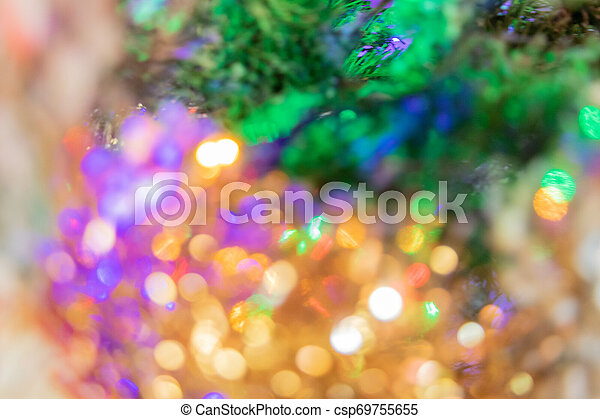 sapin, année, lumières, bokeh, fond, nouveau, noël - csp69755655