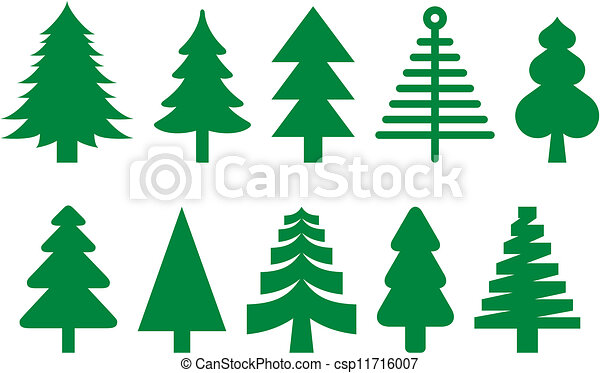 Sapin ensemble arbres sapin arbres diff rent dix ic nes - Sapin clipart ...