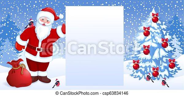 Sapin Noël Père Noël Arbre Celebratory Esprit Fond