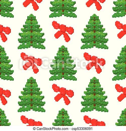 Sapin Plante Modèle Feuille Aiguille Arbre Seamless Pin Pixel Vecteur Vert Illustration Coffre Naturel Vacances Noël