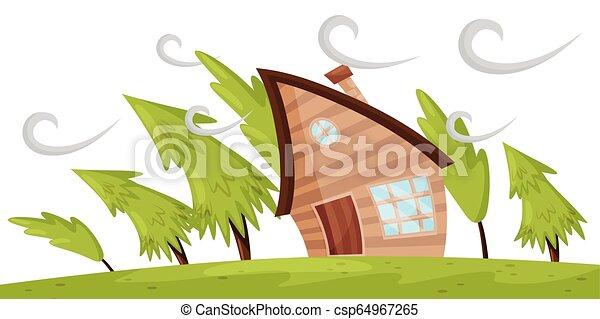sapin, plat, souffler, naturel, wind., maison, loin, puissant, scène, arbres, vecteur, windstorm., fort, désastre - csp64967265