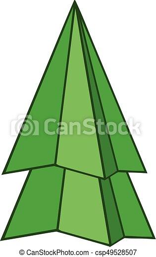 Sapin style arbre ic ne origami dessin anim sapin clipart vectoriel rechercher - Arbre de noel origami ...