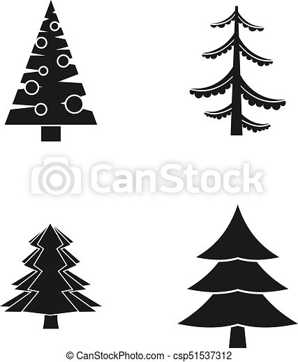 Sapin Style Ensemble Arbre Simple Icone Sapin Toile Ensemble Icones Simple Set Arbre Isole Vecteur Conception Canstock