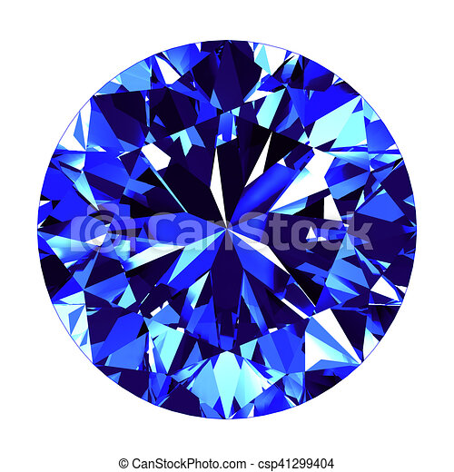 Sapphire Round Cut Over White Background 3d Illustration