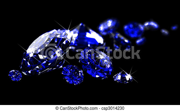 Sapphires on black surface   - csp3014230